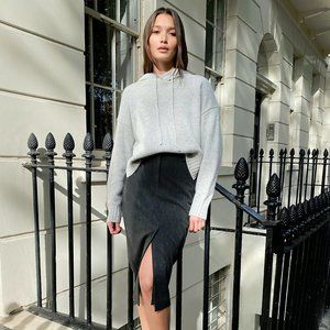 NWT Babaton Aritzia grey checkered pencil skirt